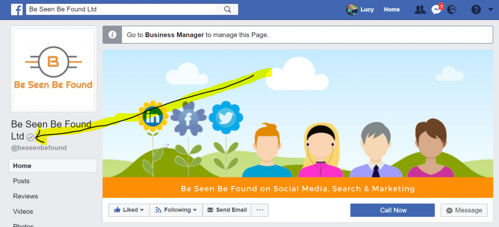 facebook verified business tick